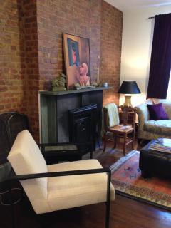 Modern art filled living room