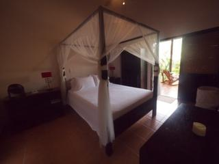 Cabana suite 4-post queen-size bed with mosquito netting and private bathroom
