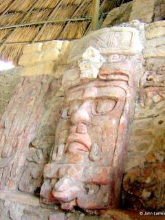 Mask at Kohunlich, one of the Maya Ruins nearby
