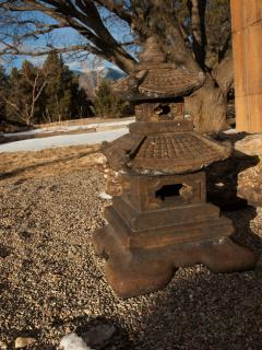 The Buddhist pagoda is a spiritual welcome outside the front door.
