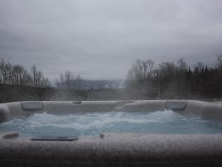 Unobstructed Views of Windham Mountain in Winter from 8 seat 50 Jet Hot Tub