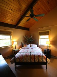 Fox Bedroom with 18 Foot Cathedral Ceilings in Knotty Pine with Ceiling Fan -MBR