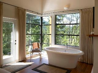 The Perch: Soaker Tub for Two with nature and private views all around.