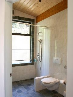 The Perch has fully accessible bathroom.  Roll-in shower with double heads.