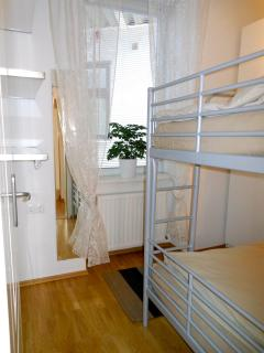 Each bunk bed is 90cm broad and 2m long