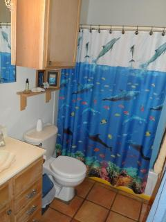 Guest bath takes you under the sea with the dolphins.