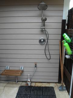 Including a private outdoor shower near pool.