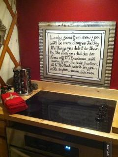 Yurt Stainless convection oven and cooktop with favorite Mark Twain Quote to live by :-)