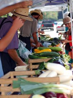 Shaker Square Farmers Market every Saturday morning two blocks away.