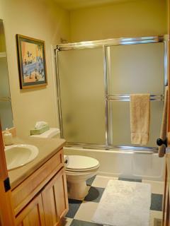 Downstairs full bathroom with shower/bath tub