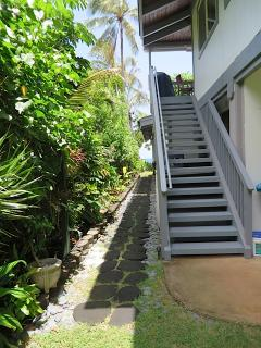 Private exterior stairs to apartment entry