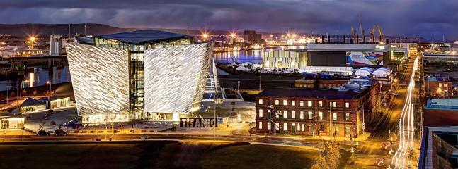 Aerial View of Titanic Quarter, HBO studios and Titanic Drawing Rooms