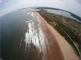 Aerial viiew of the Rotating House on the beach