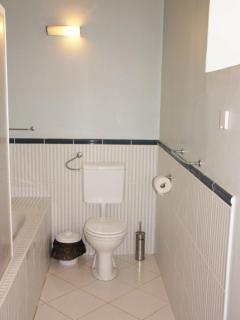 Main bathroom has bath/shower, WC, basin