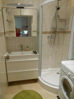 Bathroom with shower, washing machine with dryer function