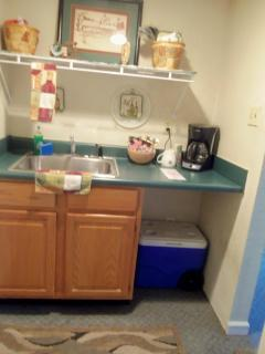 Sink, coffee pot, etc