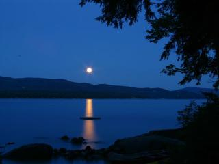 Evening Moonlight view from campfire