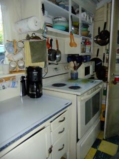 Very small galley kitchen but it has everything you need