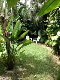 Enjoy the private garden with little sitting areas and alcoves