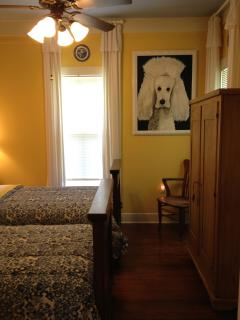Twin Bedroom and Pamela(the puppy painting by local artist Logan Berard.)