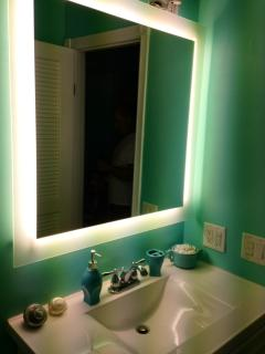 This fluorescent light-up mirror is really fabulous!  Came from Manele Bay Four Seasons in Lanai!