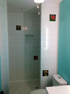Large Shower with Beautiful Hand-Painted Tiles Plus Built-In Cubbies for Shampoo/Conditioner/Etc.