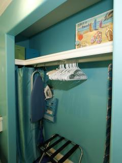 Large Closet! Plenty of room for all your belongings! Digital Safe, Iron+Board, Luggage Rack, Etc.