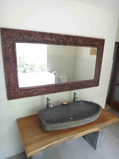 Master bathroom sink and mirror