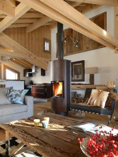 Chic alpine decor & contemporary fire