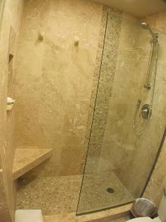 Master bath w/ travertine tile w/ decorative waterfall in glass enclosure
