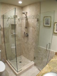 Guest bath with beautiful frameless glass shower enclosure