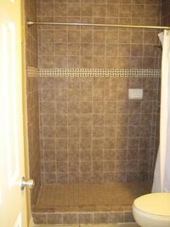 New tile shower in bathroom