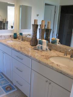 Ensuite master bath with tall vanity, 2 sinks updated