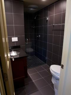 Full bath on first floor has glass walkin shower and includes all linens