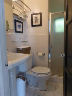 Compact bath with shower and window