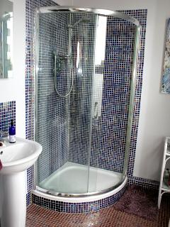 The ensuite has a spacious corner shower and sink.