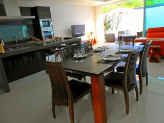 Dinner table in the kitchen. Open plan