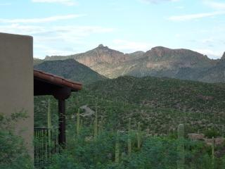 Views of Sabino Canyon and Thimble Pass from master bedroom deck. This faces E,S