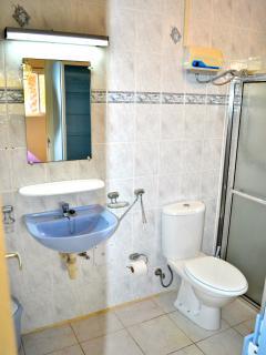 Badkamers met douche met warmwaterinstallatie.