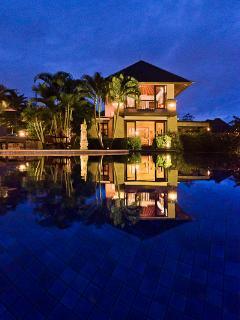 View over Pool to Pavilion Lambada - 2 king bed villa.