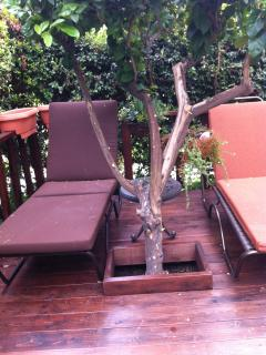 lounge chairs outside on redwood deck