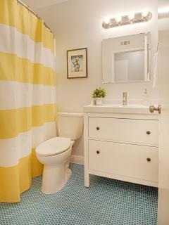 Donald Duck bathroom with retro blue penny tile and sparkling white tub/shower combo