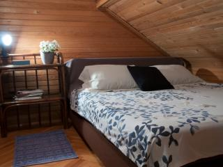 Bedroom with extra-comfy double bed.