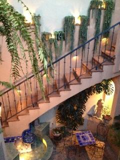 Cascading garden overlooking the Central Courtyard, Opal's stairs to her private Loggia
