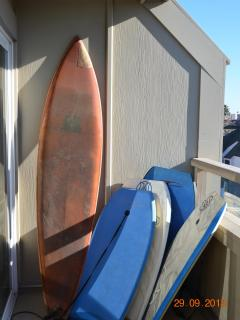 Surf board and boogie boards with unit