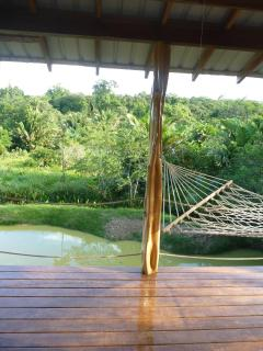 Hammock with the pond in the background
