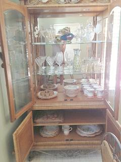 China cabinet wine and bar glasses