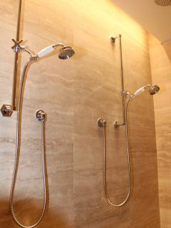 Master shower with dual hand helds and dual Rain Clouds