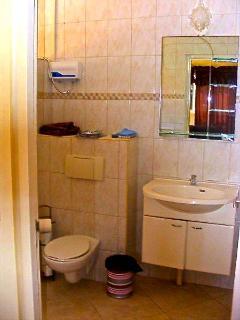 Tweede badkamer, wastafel, wc, douche met warm water.