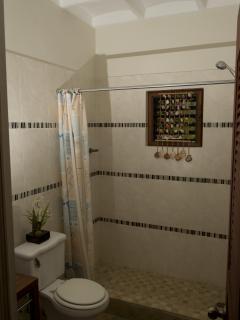Bathroom Amenitie: hairdryer, towels and beach towels